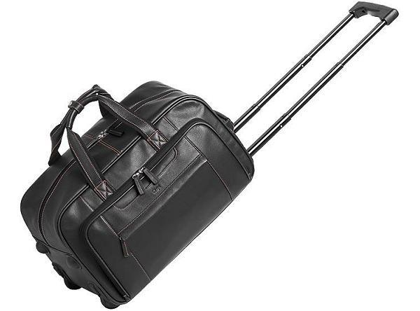 Leather great escape rolling duffel bag the promo group for Leather luggage wheeled duffel
