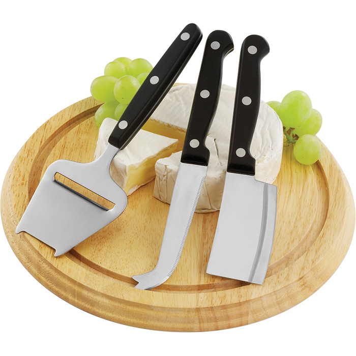 buy Wooden Cheese Board with 3 Knives
