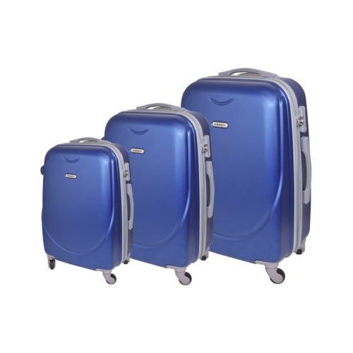 Branded three piece travel suitcases blue