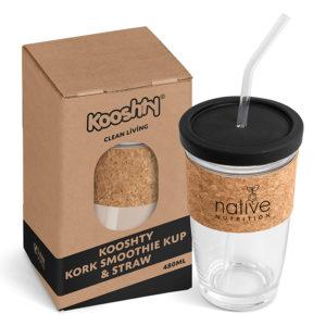 buy Kooshty Kork Glass Smoothie Kup & Straw